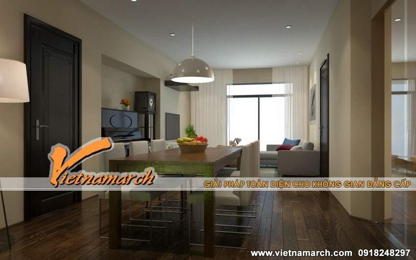 Phòng bếp và phòng khách thông nhau, tạo không gian thoáng, rộng - Thiết kế nội thất chung cư