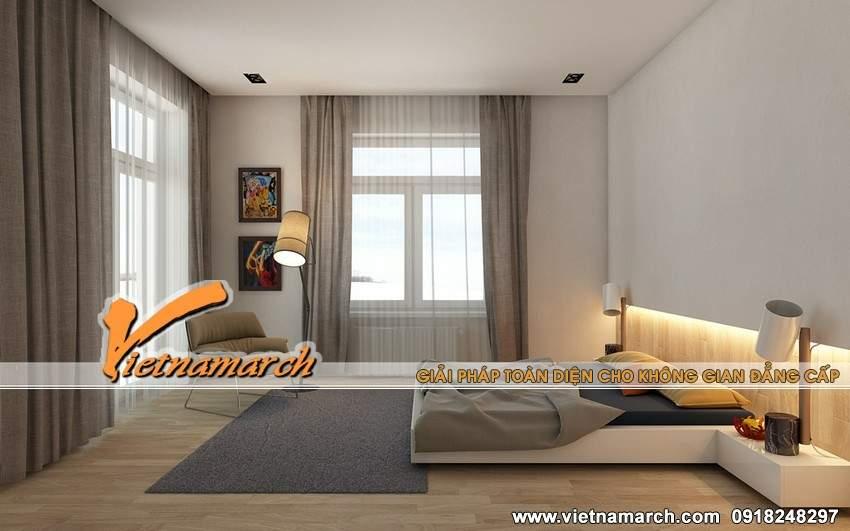 Giường ngủ thiết kế chắc chắn được bài trí hướng ra cửa sổ - Nội thất chung cư Times City