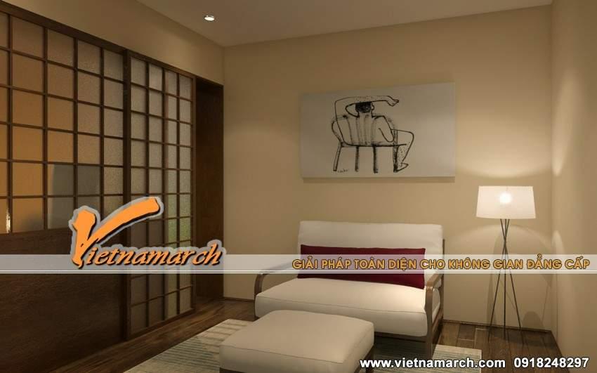 Phòng sinh hoạt chung được thiết kế theo phong cách đơn giản và nhẹ nhàng