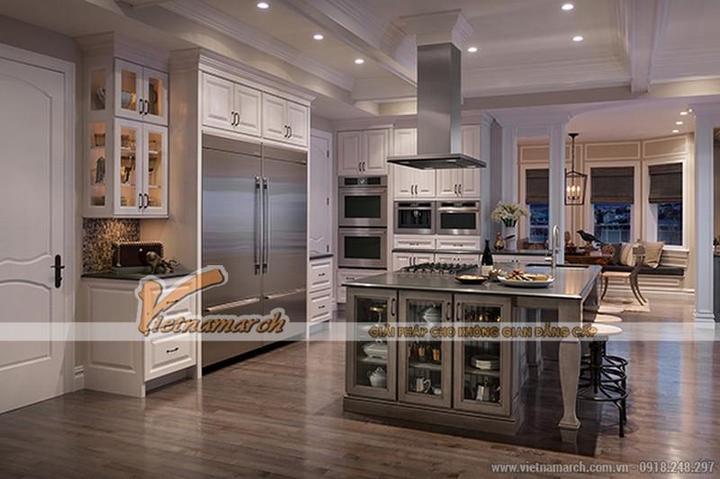 Thiết kế nội thất nhà bếp có nhiều cửa sổ lớn