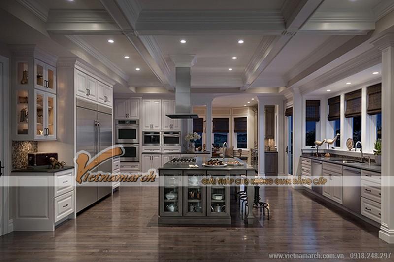 Thiết kế nội thất nhà bếp không gian rộng