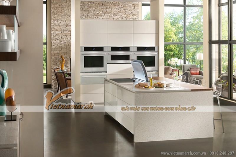 Tủ bếp cao cấp được thiết kế tối giản mà hiện đại