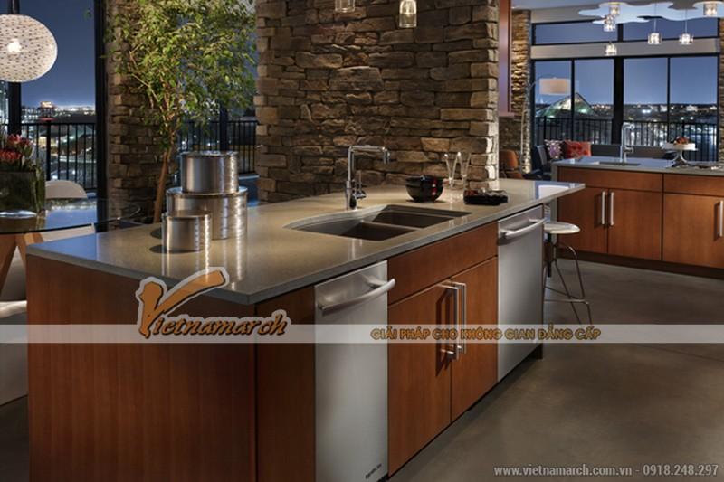 Tủ bếp cao cấp được thiết kế từ gỗ và inox chống rỉ sét