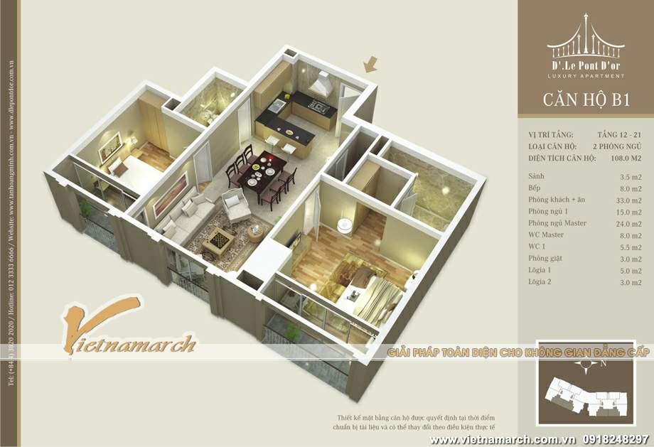 nội thất hiện trạng căn hộ B1 chung-cu-D'. Le Pont D'or - 36 Hoang Cau