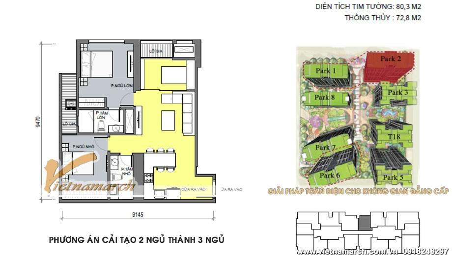 Phương án 01: Cải tạo Căn P2-01 chung cư Park Hill – Times City từ 2 ngủ sang 3 ngủ,