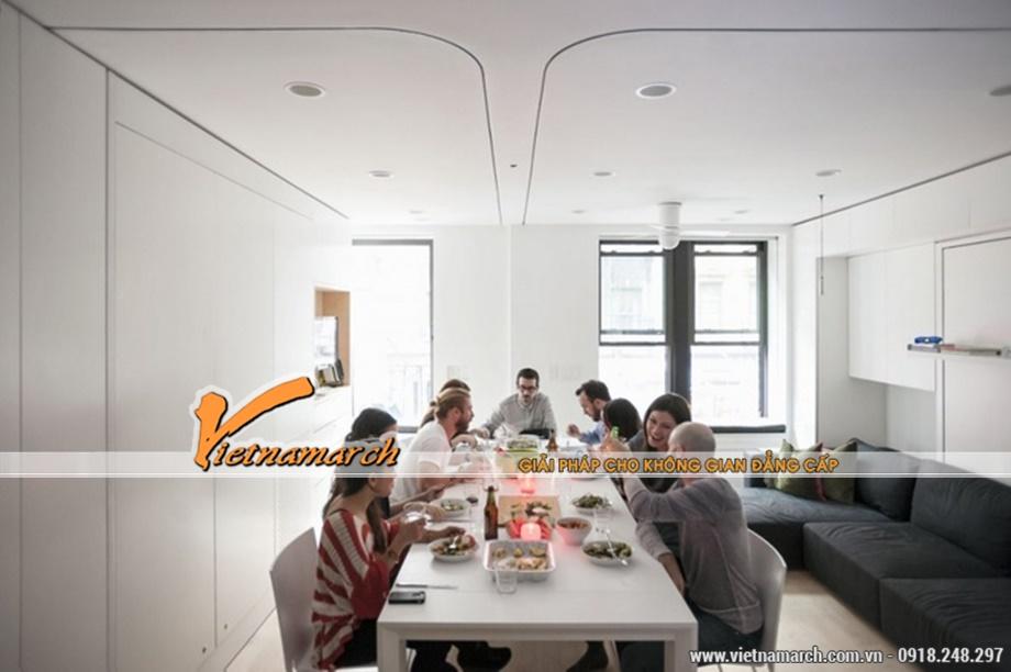 Thiết kế nhà đẹp rộng rãi cho căn hộ 40m2. Sức chứa căn phòng thỏa mái cho 10 người