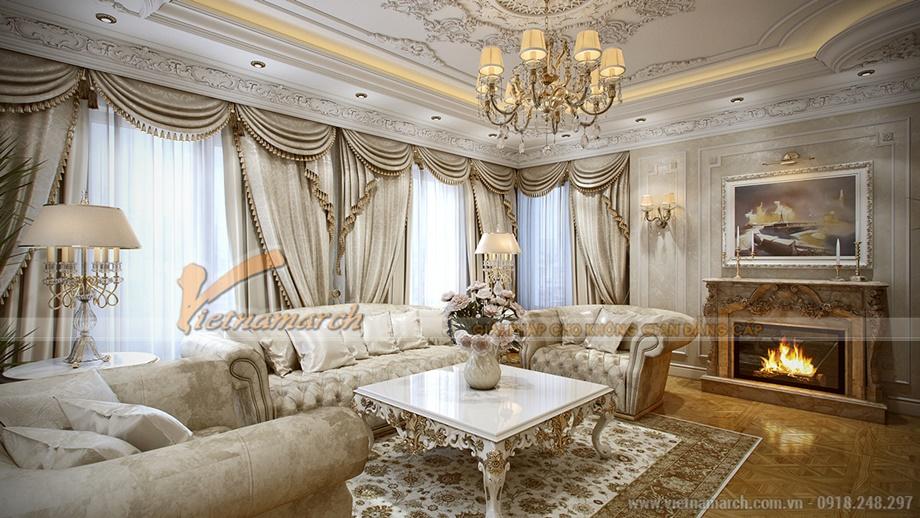 Phòng khách mang đậm phong cách tân cổ điển của thời kì phục hưng