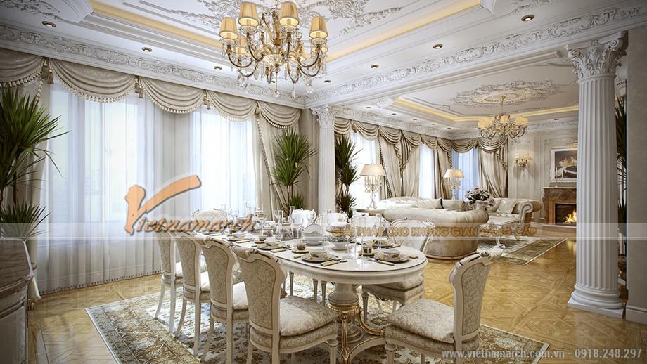 Không gian phòng khách và nhà bếp thông nhau mang lại cảm giác rộng rãi