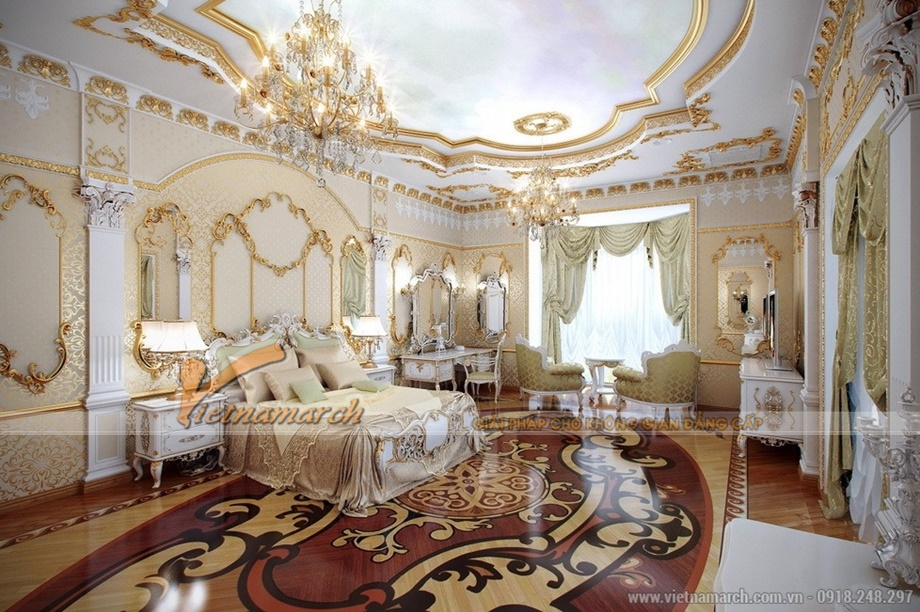 Phòng ngủ lỗng lẫy trong căn hộ mẫu chung cư D'. LE ROI SOLEIL – Quảng An – Tân Hoàng Minh