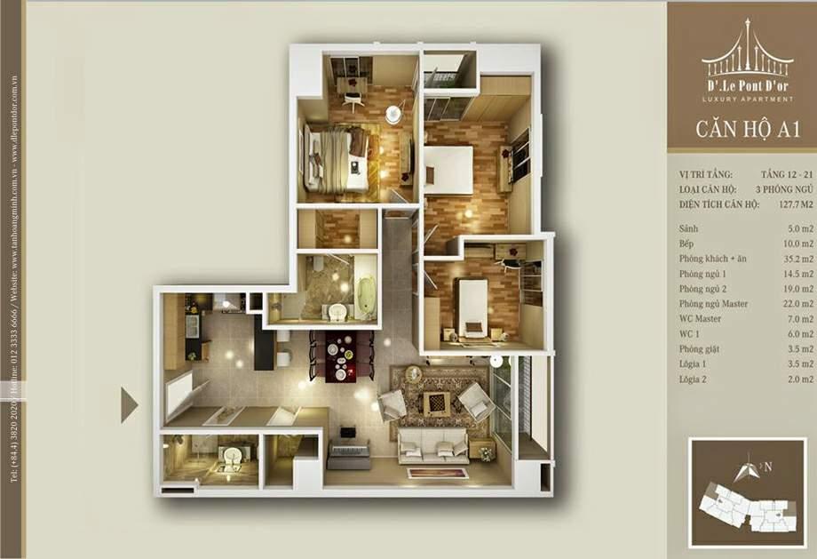 Mặt bằng hiện trạng căn A1 chung cư Tân Hoàng Minh Hoàng Cầu