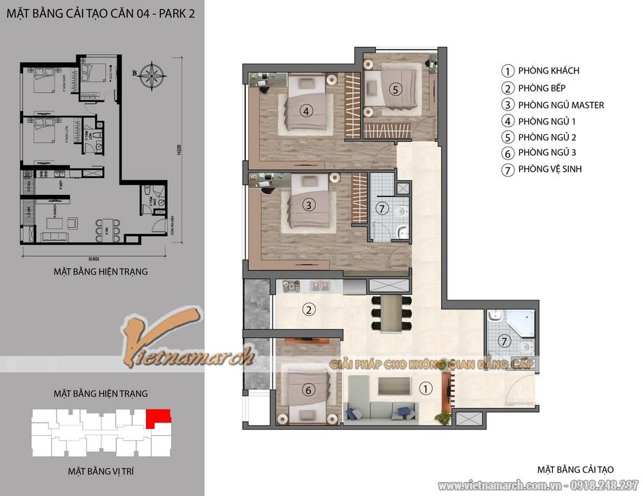 Căn hộ 04 Park 2 chung cư Park Hill Times City cải tạo từ 3 sang 4 phòng ngủ
