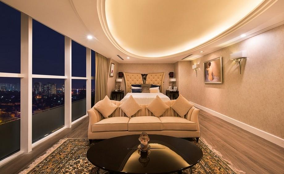 Phòng ngủ master - phòng ngủ chính nằm trên tầng 2 có thiết kế đơn giản và ấm cúng