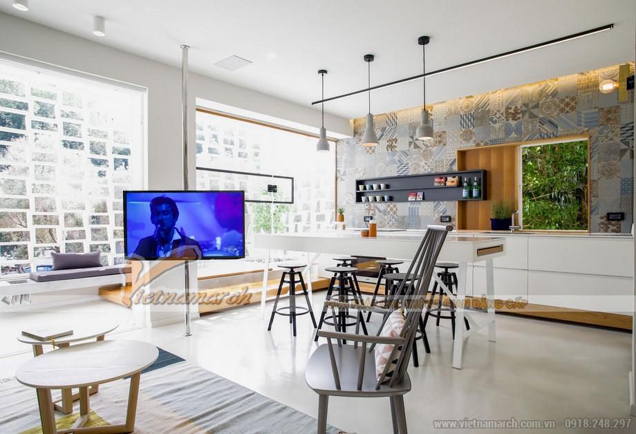 Sự đồng nhất giữa không gian phòng khách và phòng bếp