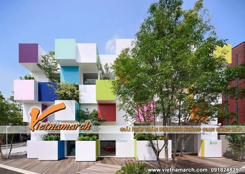Ngôi nhà có kiến trúc độc đáo với những khối hộp sắc màu
