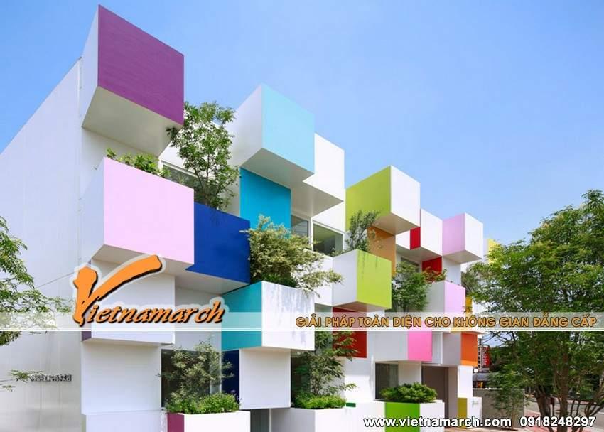Ngôi nhà như bảy sắc cầu vòng với những khối hộp màu sắc