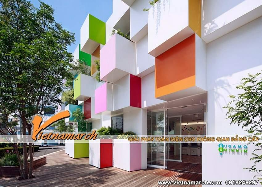 Những khối hộp sắc màu nhô ra thực sự khiến ngôi nhà được nổi bật