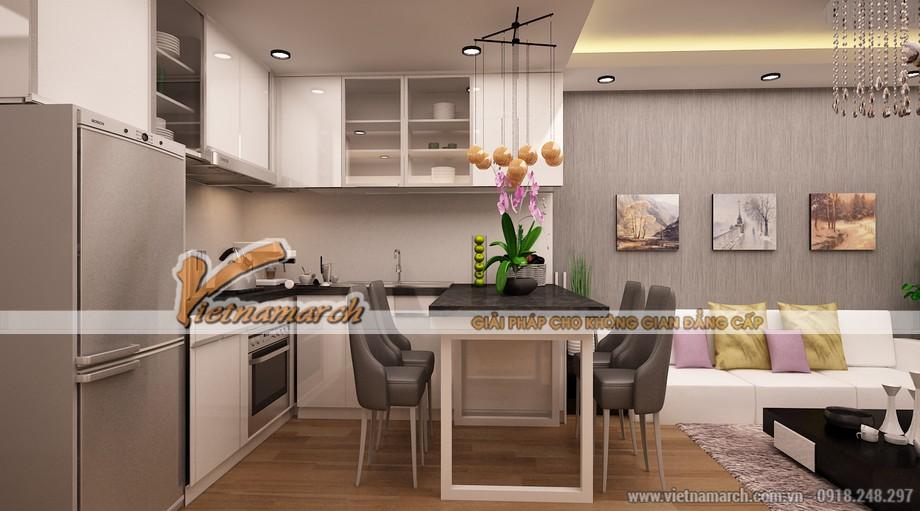 Nội thất phòng bếp rộng thoáng và đầy đủ tiện nghi tại căn hộ mẫu chung cư Goldmark City