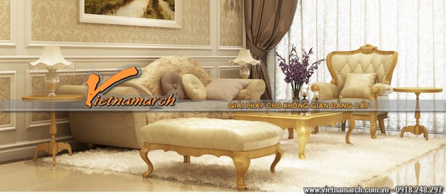 Một phòng khách được thiết kế rất ấn tượng mang lại không gian sống vương giả