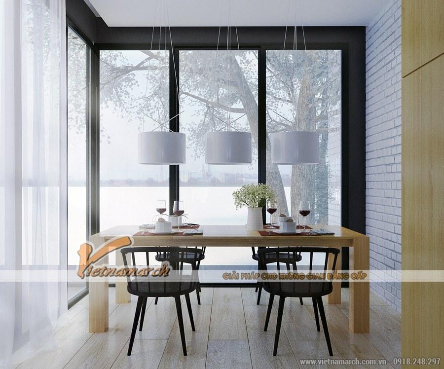 Phòng ăn được phối hợp hài hòa về màu sắc - Thiết kế nội thất chung cư goldmark city