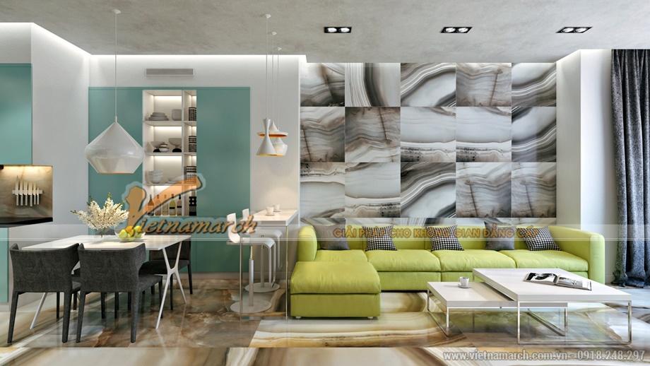Phòng khách thanh nhã - thiết kế nội thất chung cư Goldmark