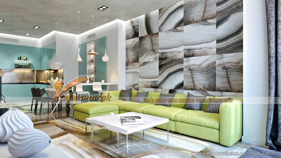 Sofa vàng cam tạo sự ấm áp gần gũi - thiết kế nội thất chung cư goldmark city
