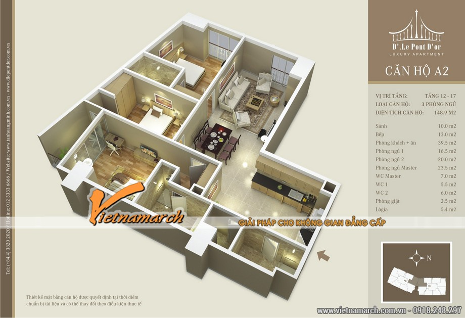 Mặt bằng hiện trạng căn hộ A2 chung cư D'. LE PONT D' OR Hoàng Cầu