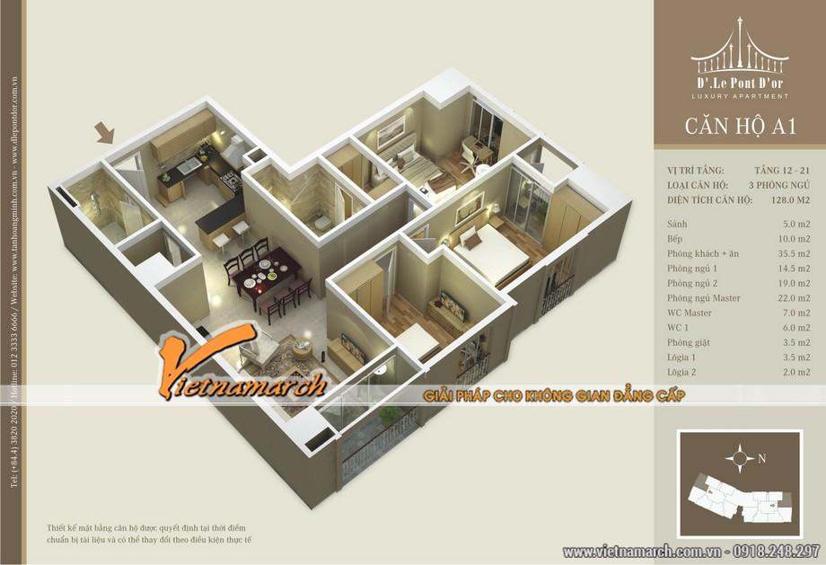Mặt bằng hiện trạng căn hộ A1 chung cư D'. LE PONT D' OR Hoàng Cầu - Tân Hoàng Minh