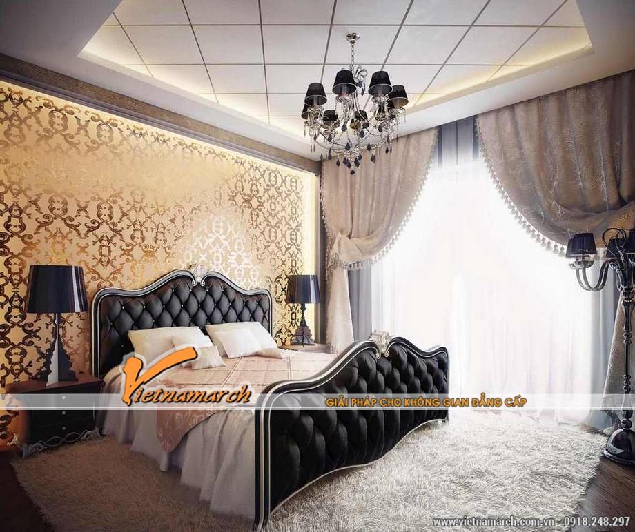 Thiết kế nội thất tân cổ điển cho phòng ngủ chung cư chung cư D'. LE PONT D' OR Hoàng Cầu - Tân Hoàng Minh
