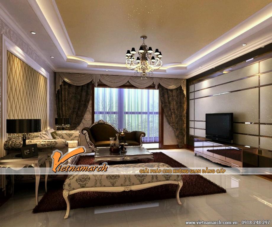 Nội thất phòng khách sang trọng với phong cách tân cổ điển - Thiết kế nội thất chung cư Tân Hoàng Minh