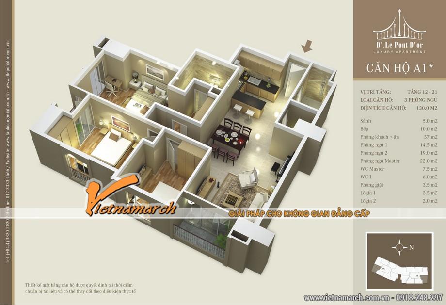 Thiết kế nội thất tân cổ điển trong căn A1* chung cư D'. LE PONT D' OR Hoàng Cầu