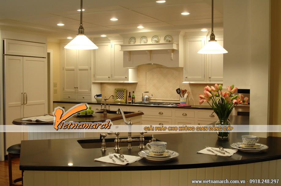 Phòng bếp tại căn hộ A1* chung cư D'. LE PONT D' OR Hoàng Cầu - Tân Hoàng Minh hiện đại pha lẫn nét tân cổ điển