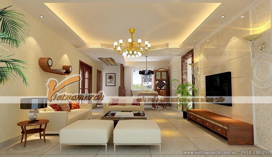 Thiết kế phòng khách theo không gian mở mang đến sự tiện nghi, rộng thoáng