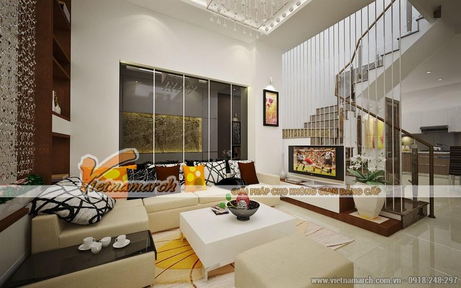 Thiết kế nội thất phòng khách được kết hợp hài hòa màu sắc
