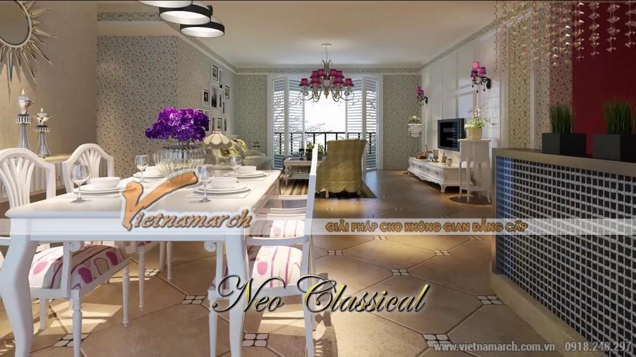 Thiết kế nội thất phòng bếp trong căn hộ B1 chung cư D'. Le Pont D'or – Hoàng cầu