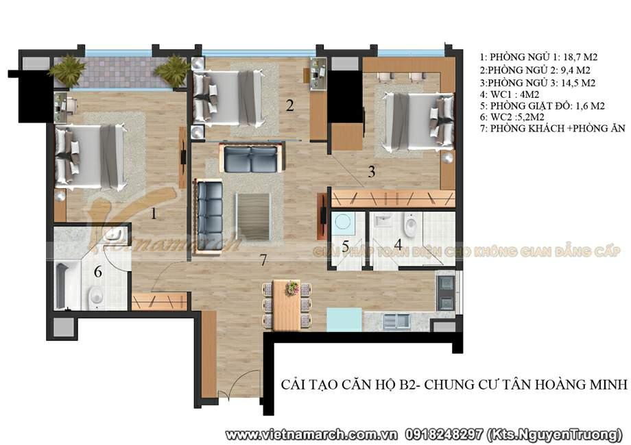 phương án cải tạo căn b2 chung cư D'. Le Pont D'or - 36 Hoàng Cầu
