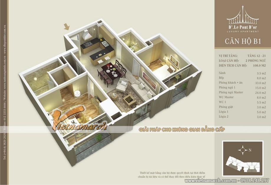 Phương án chia phòng trong căn hộ A3 chung cư D'. Le Pont D'or – Hoàng cầu được đưa ra bởi chủ đầu tư Tân Hoàng Minh