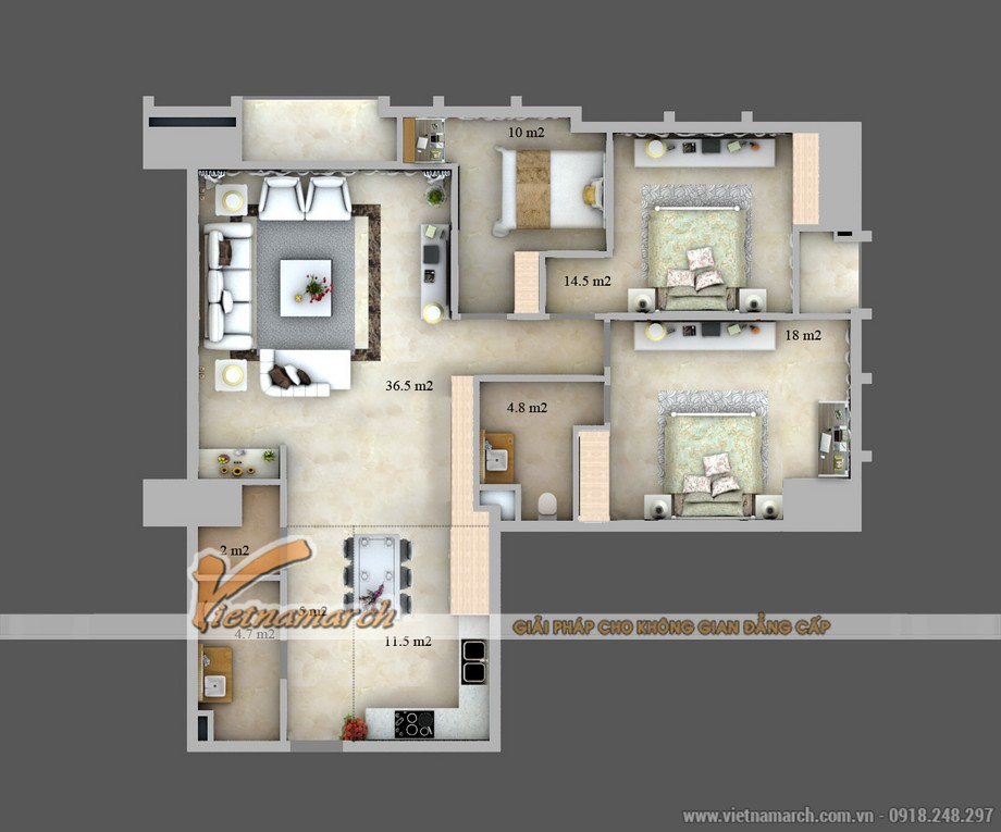 Mặt bằng cải tạo căn hộ A1 được thiết kế bởi Vietnamarch