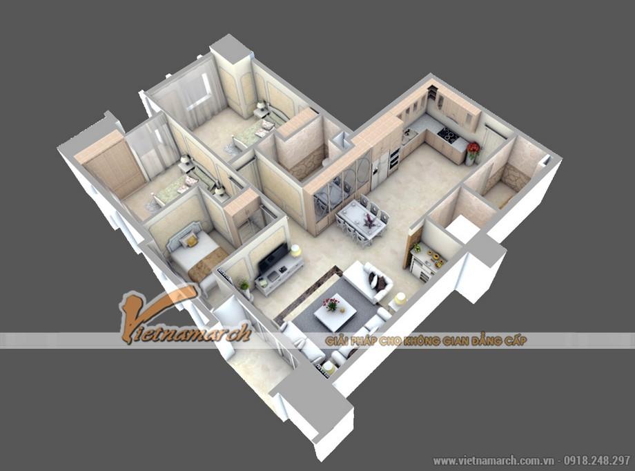 Thiết kế nội thất tân cổ điển trong căn A1 chung cư D'. LE PONT D' OR Hoàng Cầu