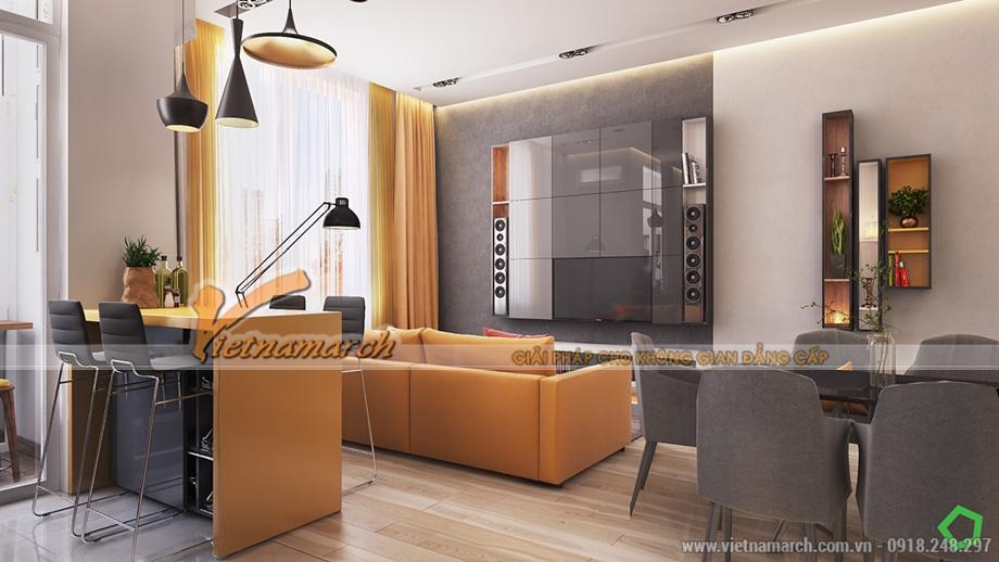 Phòng khách hiện đại trong mẫu thiết kế nội thất chung cư Goldmark city
