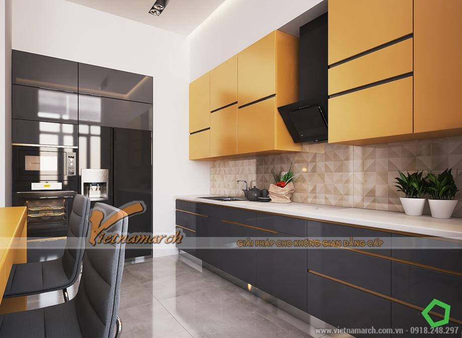 Nội thất phòng bếp hiện đại và tiện nghi trong căn hộ Goldmark city