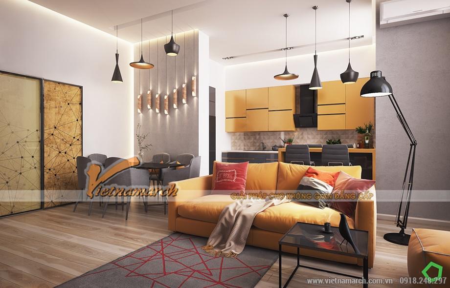 Nội thất tông vàng cam chủ đạo của căn hộ chung cư Goldmark city