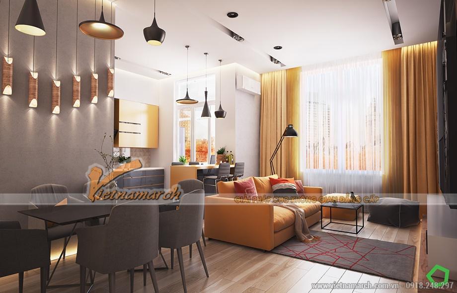 Căn hộ sử dụng nhiều nội thất vàng cam