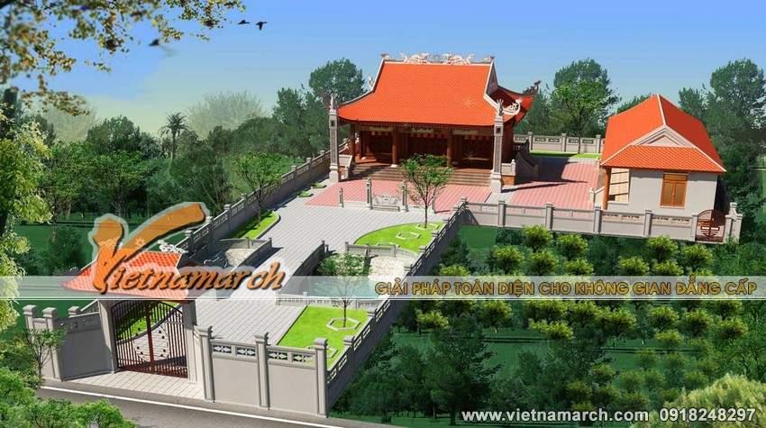 Thiết kế nhà thờ họ 4 mái kèm nhà ngang của nhà anh Sang ở Kim Môn - Hải Dương