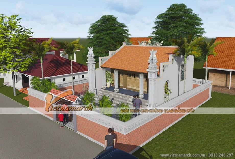 Tổng thế thiết kế nhà thờ họ 3 gian 2 mái của bác Hưng - Hà Nam