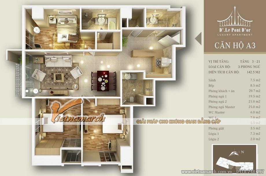 Mặt bằng căn hộ cải tạo căn hộ A3 chung cư D'. LE PONT D' OR Hoàng Cầu