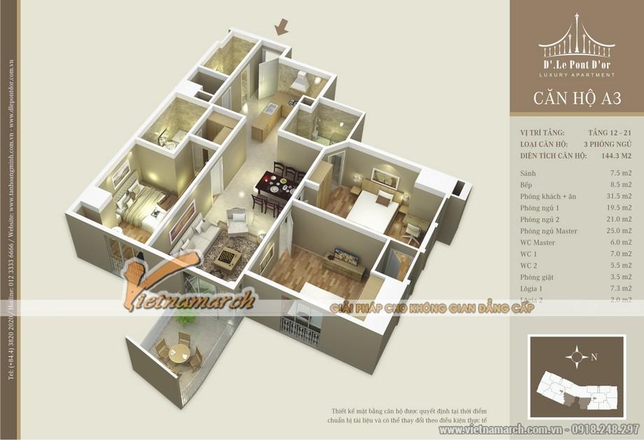 Mặt bằng chia phòng căn hộ A3 chung cư D'. LE PONT D' OR Hoàng Cầu