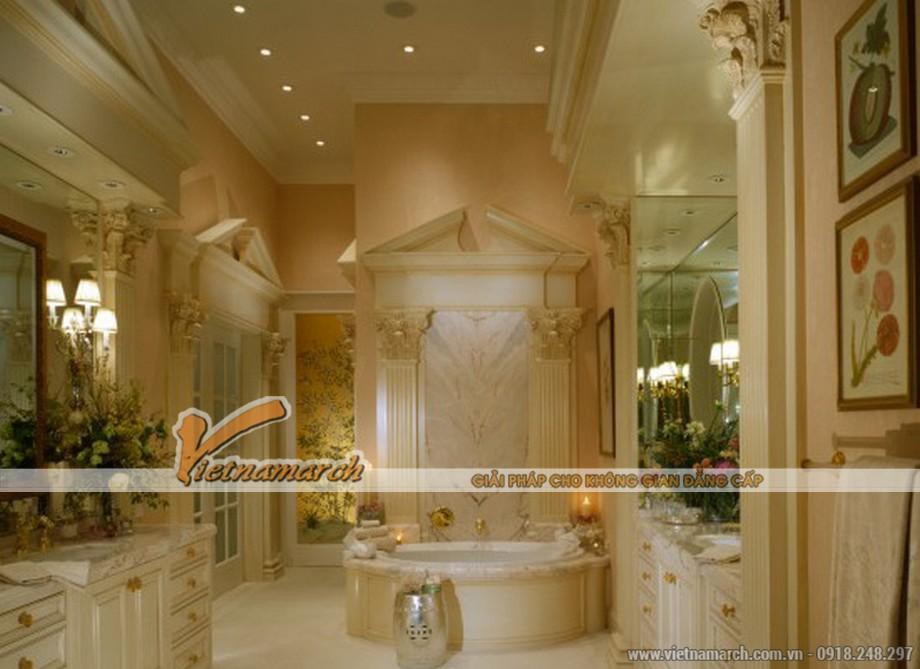 Phòng tắm lộng lẫy trong thiết kế nội thất căn hộ mẫu chung cư D'. LE PONT D' OR Hoàng Cầu