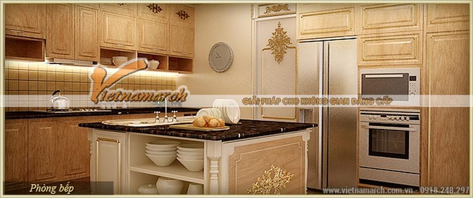 Thiết kế nội thất phòng bếp vừa cổ điển vừa khoa học chỉ có trong căn hộ Athena của chung cư D'.Palais de Louis - Tân Hoàng Minh