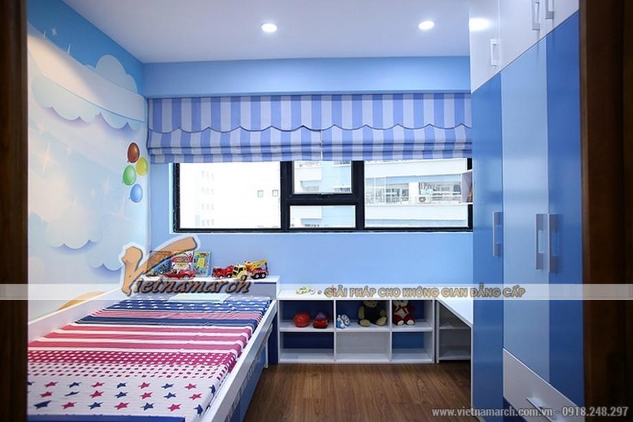 Tông màu mát diệu kết hợp nội thất ngộ nghĩnh kích thích tư duy của trẻ nhỏ trong phòng ngủ của bé