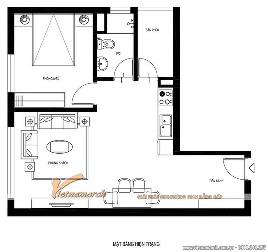 Mặt bằng hiện trạng của căn hộ Hoàng Mai - Hà Nội